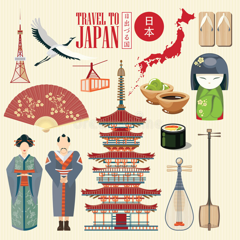 Cartaz lindo do curso de Japão Ícones japoneses da cultura | VERMELHO um ilustração stock