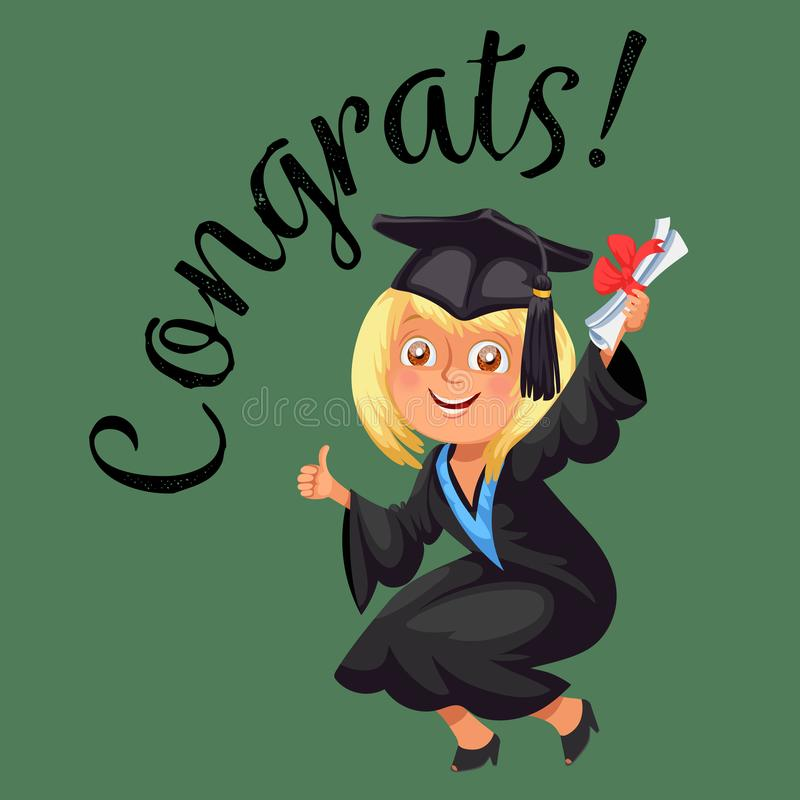 Cartaz liso colorido de Congrats com dia de graduação graduado feliz da celebração e polegar mostrar acima do vetor do suspiro ilustração stock