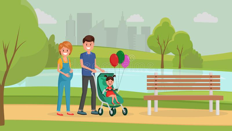 Cartaz liso da excursão da família ilustração do vetor