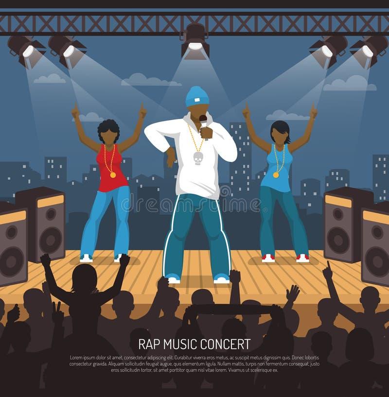 Cartaz liso do concerto do música rap ilustração stock