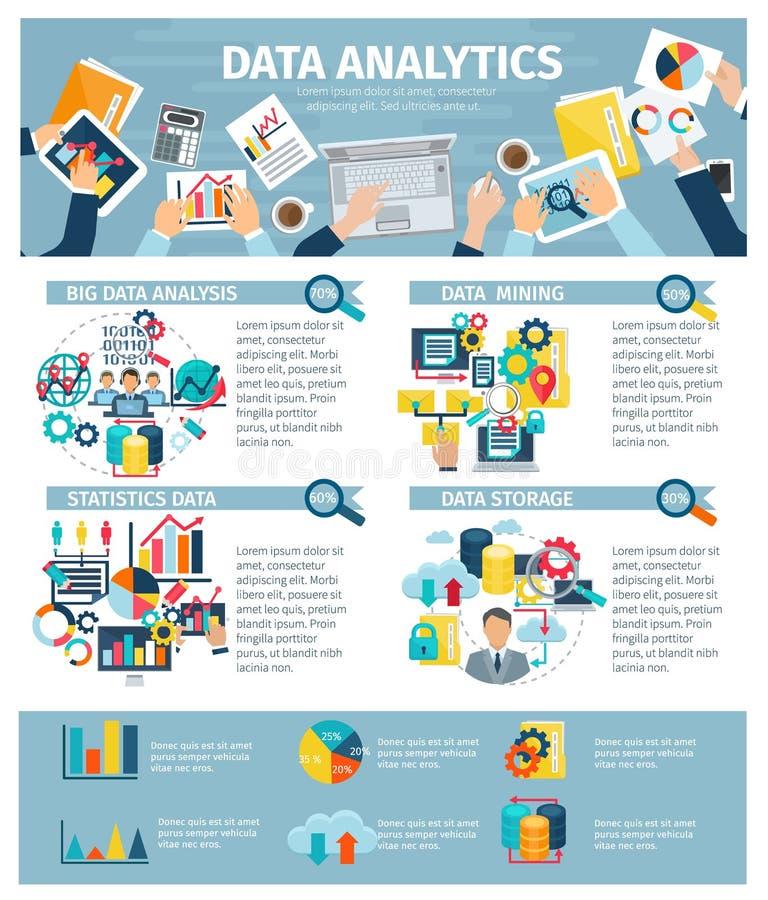 Cartaz liso dos elementos de Infographic da analítica dos dados ilustração stock