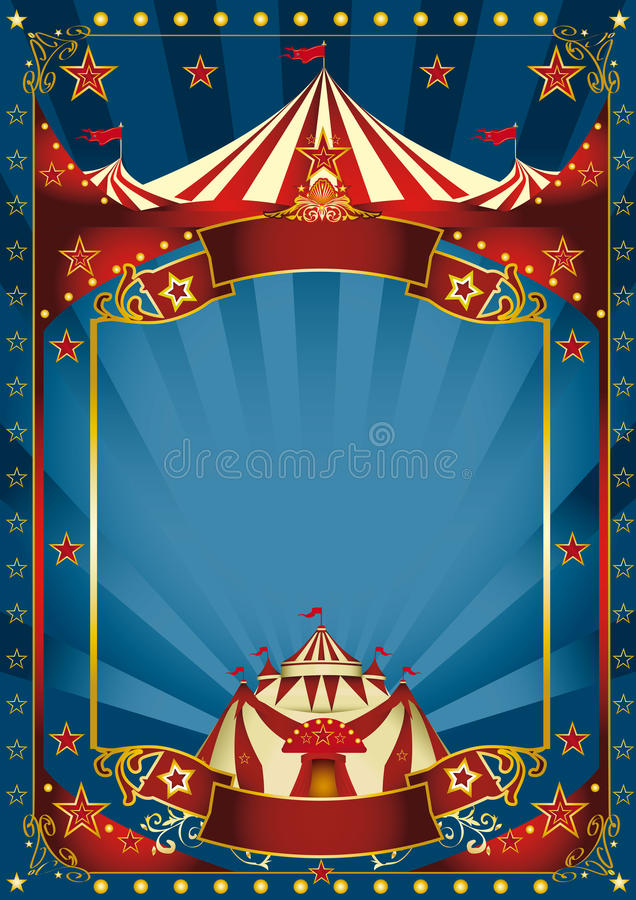 Cartaz mágico azul do circo ilustração stock