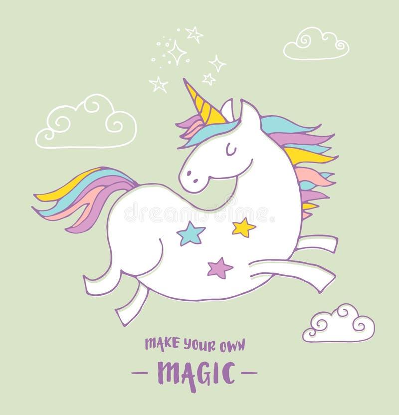 Cartaz mágico bonito do unicon e do arco-íris, cartão ilustração royalty free