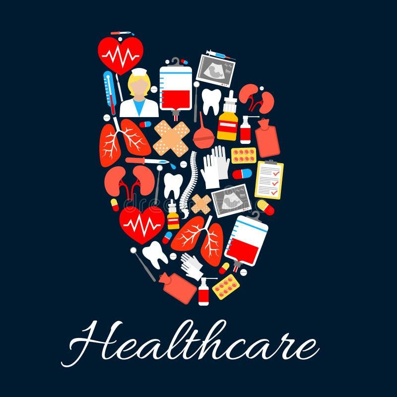 Cartaz médico do coração com ícones dos cuidados médicos ilustração do vetor