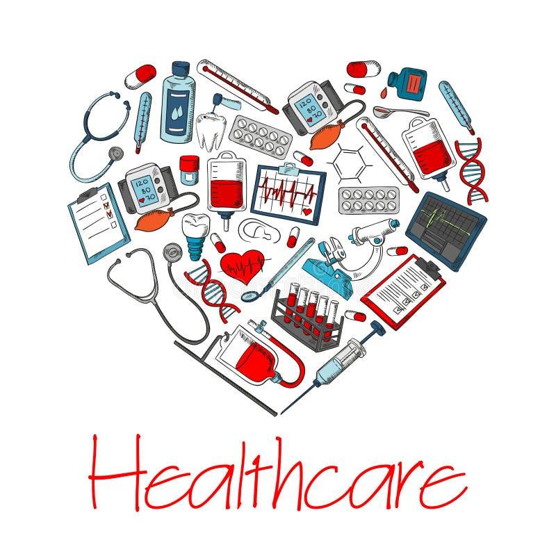 Cartaz médico do vetor do coração dos cuidados médicos ilustração stock