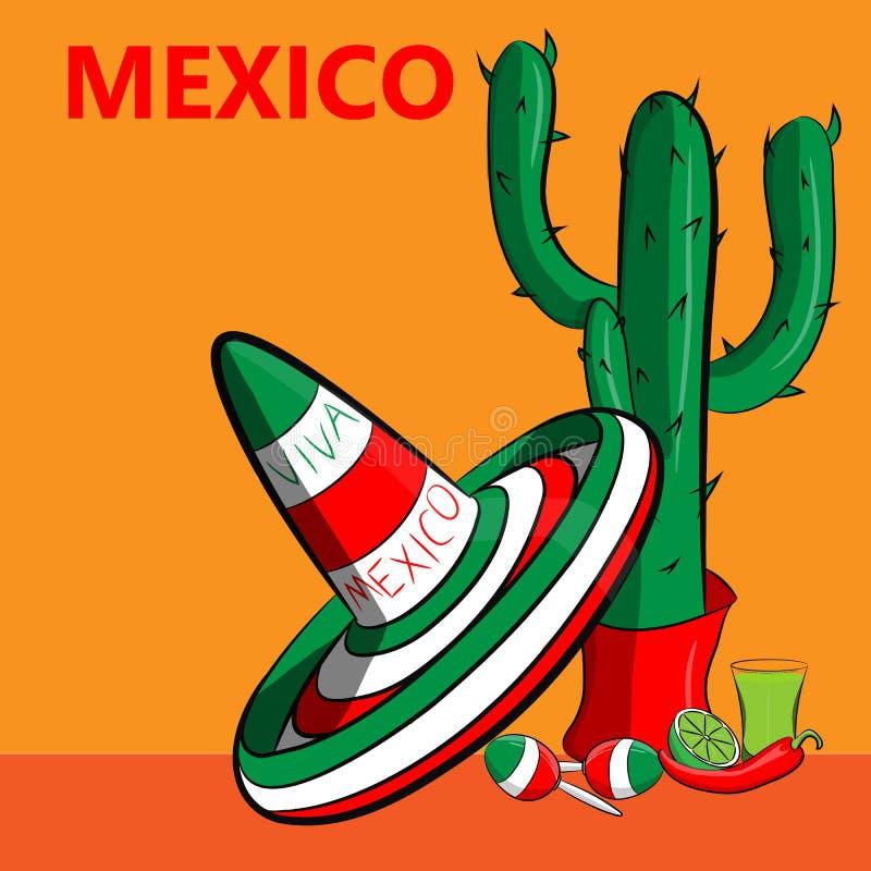 Cartaz México com a imagem da bandeira mexicana, do sombreiro, das pimentas de pimentão picantes, dos maracas e de muitos cactos ilustração royalty free