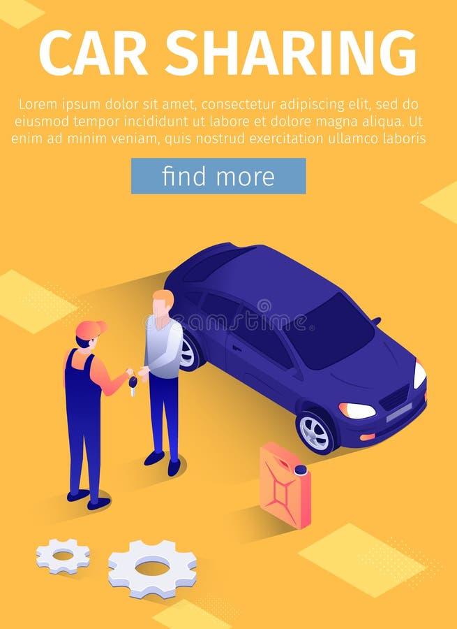 Cartaz móvel do texto para o serviço em linha da partilha de carro ilustração royalty free