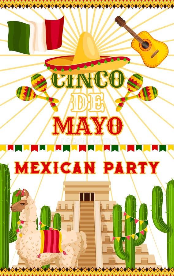 Cartaz mexicano da festa do vetor de Cinco de Mayo do partido ilustração do vetor