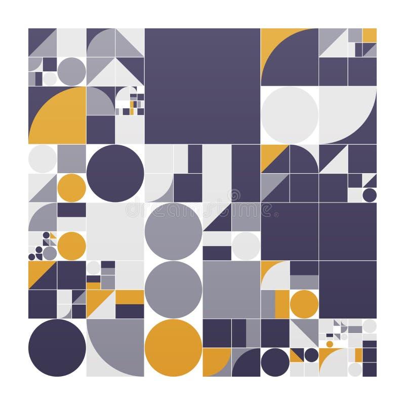 Cartaz minimalistic do vetor com formas simples Geométrico processual Disposição suíça do sumário do estilo Generative conceptual ilustração royalty free