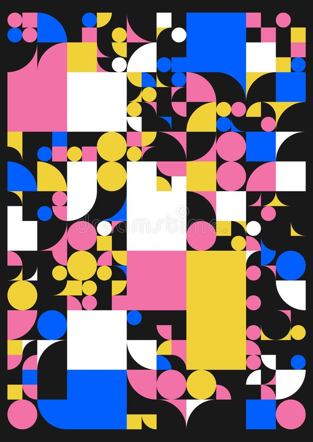 Cartaz minimalistic do vetor com formas simples Geométrico processual Disposição suíça do sumário do estilo Generative conceptual ilustração stock