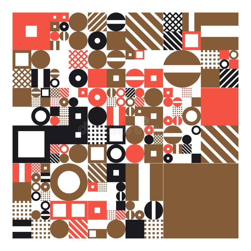 Cartaz minimalistic do vetor com formas simples Geométrico processual Disposição suíça do sumário do estilo Generative conceptual ilustração do vetor