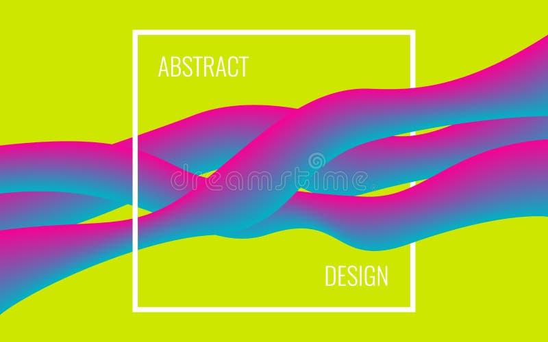 Cartaz moderno abstrato Formas líquidas coloridas no quadro Conceito na moda no fundo verde Projeto brilhante dinâmico ilustração stock
