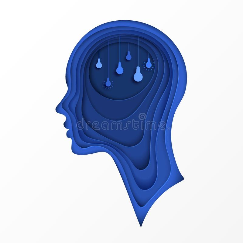 Cartaz moderno com perfil cortado mergulhado do ser humano do papel colorido ilustração do vetor