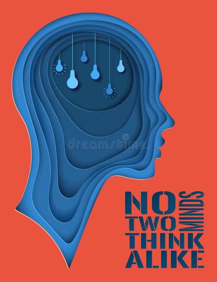 Cartaz moderno com perfil cortado mergulhado do ser humano do papel colorido ilustração stock