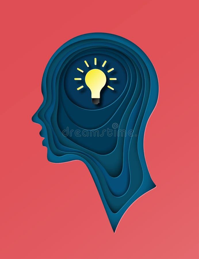 Cartaz moderno com perfil cortado mergulhado do ser humano do papel colorido ilustração royalty free