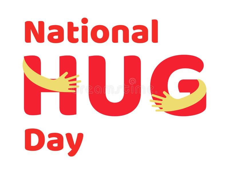 Cartaz nacional do dia do abraço ilustração royalty free