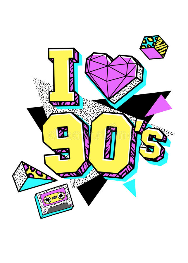 Cartaz no estilo de 80s-90s memphis ilustração stock