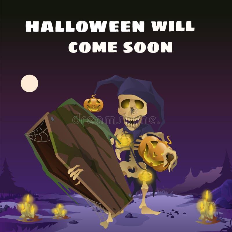 Cartaz no estilo do feriado todo o Dia das Bruxas mau O esqueleto no chapéu de um arlequim que guarda um caixão de madeira em ilustração royalty free