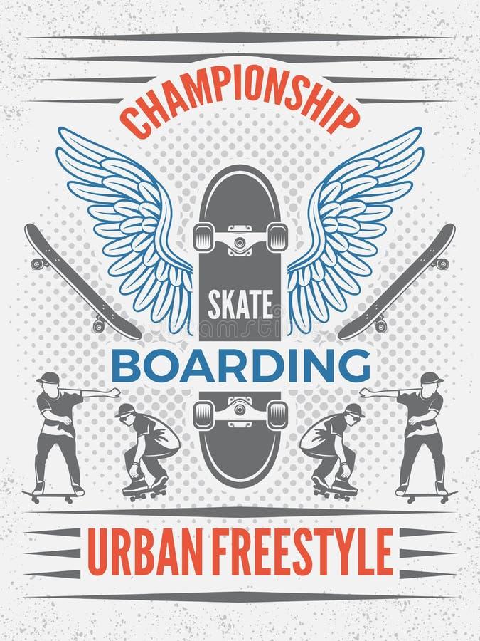 Cartaz no estilo retro para o campeonato skateboarding Vector o molde do projeto com lugar para seu texto ilustração royalty free