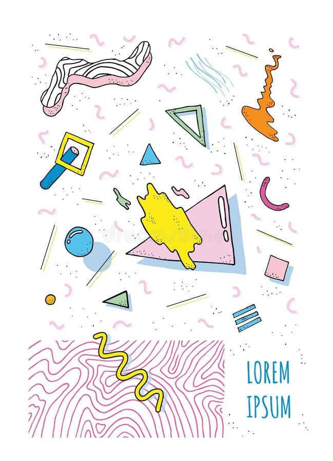 Cartaz no estilo 80s-90s de memphis com formas modernas geométricas Molde do cartaz do partido Ilustração do vetor, cor brilhante ilustração royalty free