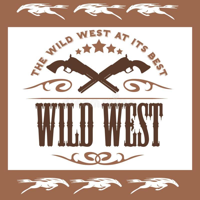 Cartaz ocidental selvagem do vintage com potros cruzados ilustração stock