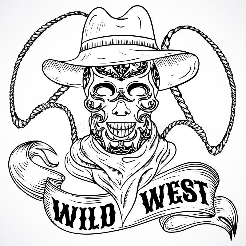 Cartaz ocidental selvagem do vintage com vaqueiro do scull, laço e bandeira da fita ilustração stock