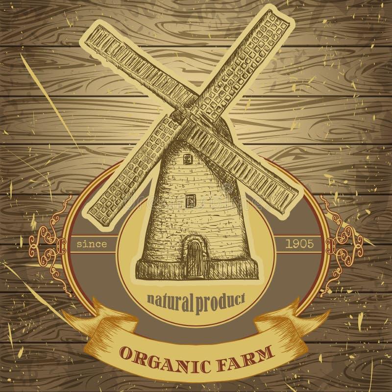Cartaz orgânico da exploração agrícola com o moinho de vento do vintage na textura do fundo de placas de madeira ilustração royalty free