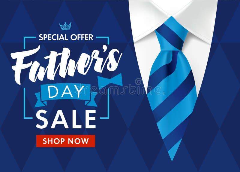 Cartaz ou bandeira da promoção de venda do dia de pai com a camiseta azul listrada do laço e dos homens ilustração royalty free