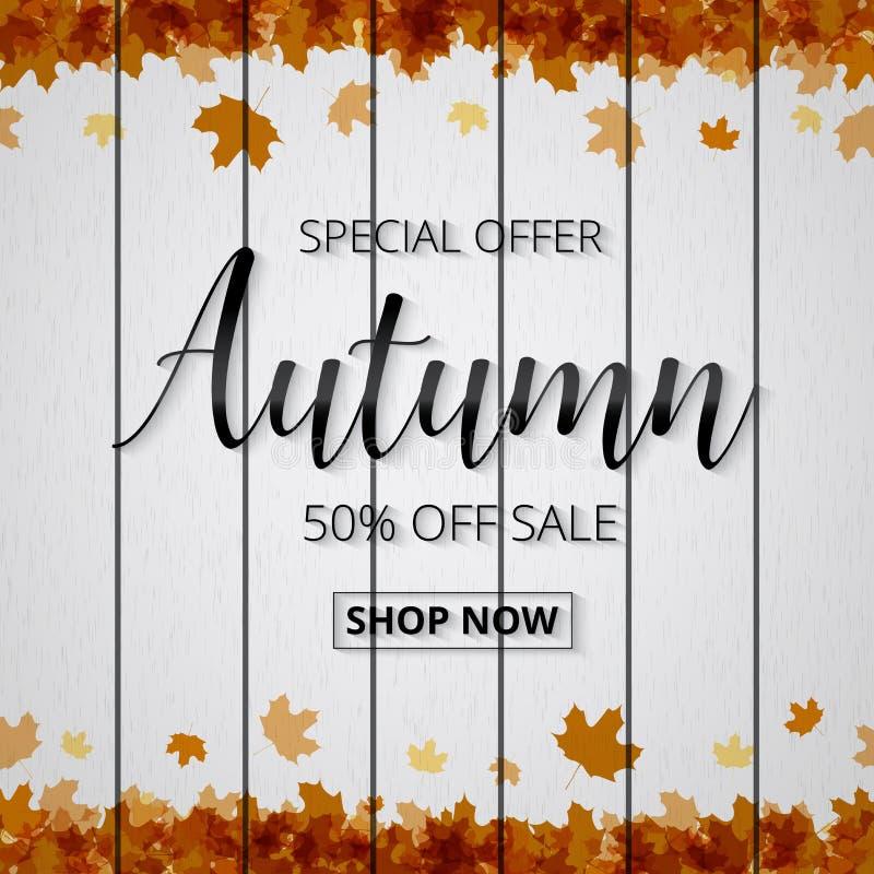 Cartaz ou bandeira da venda do outono para comprar com folha de bordo e d ilustração royalty free