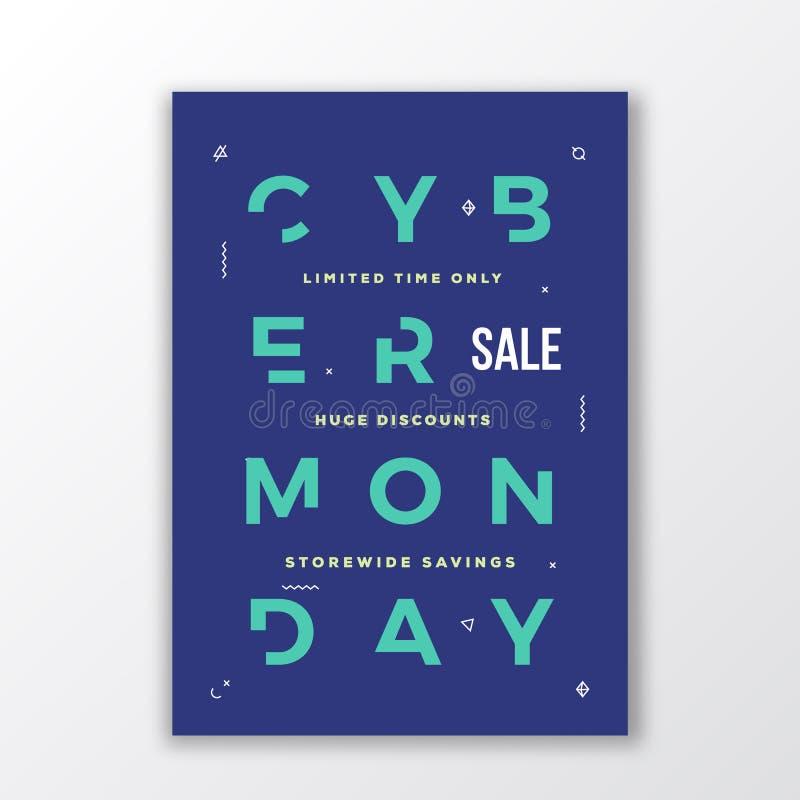 Cartaz ou bandeira mínima da tipografia de segunda-feira do Cyber Letras feitos a mão modernas Símbolos decorativos da geometria  ilustração do vetor