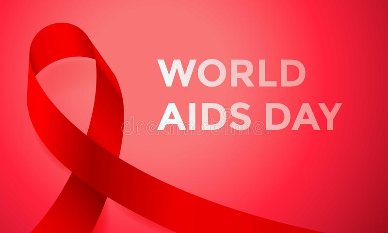 Cartaz ou bandeira vermelha da fita do Dia Mundial do Sida para o dia do mundo da conscientização do 1º de dezembro Vector o VIH  ilustração royalty free