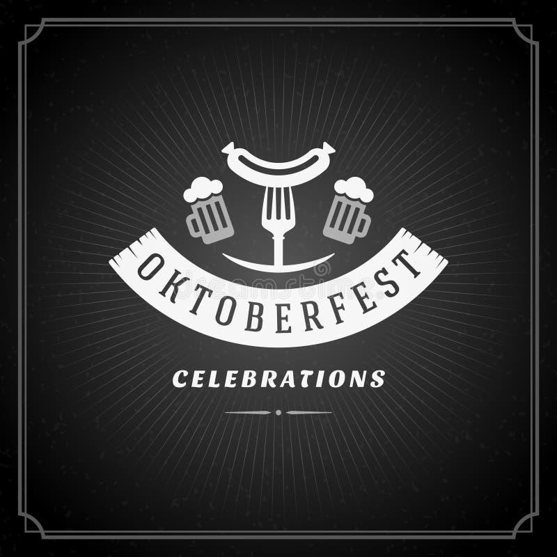 Cartaz ou cartão do vintage de Oktoberfest ilustração do vetor