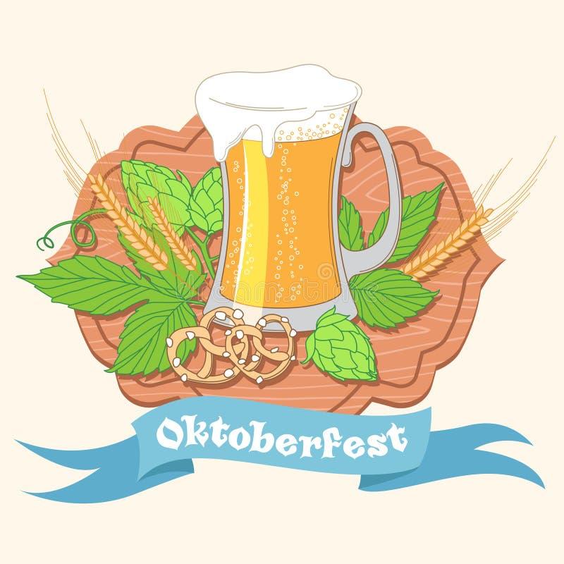 Cartaz ou cartão do vintage para o ce do festival da cerveja de Oktoberfest ilustração stock