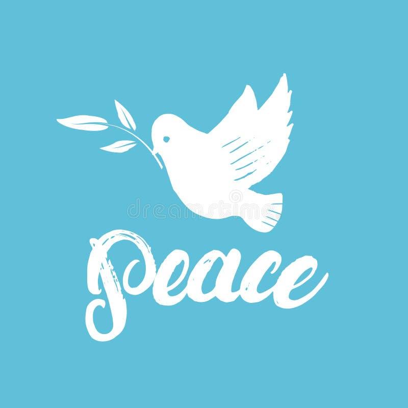 Cartaz ou cartão escrito mão da rotulação da caligrafia da paz com pomba ilustração stock