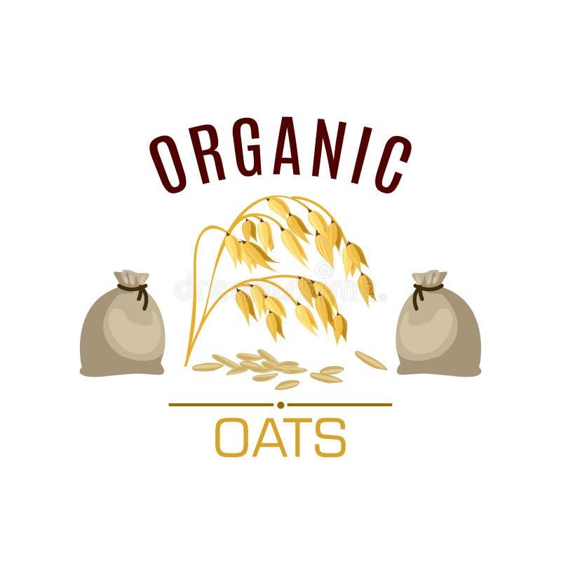 Cartaz ou emblema do vetor do cereal da aveia ilustração royalty free