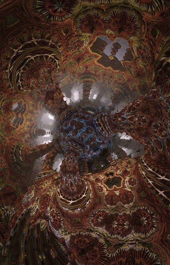 Cartaz ou fundo fantástico abstrato Ideia futurista do interior do fractal ilustração stock