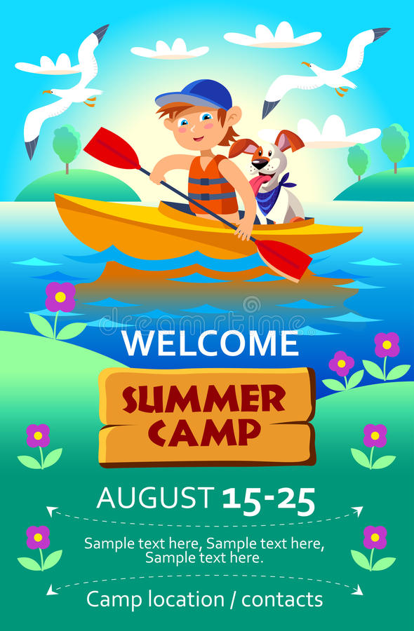 Cartaz ou inseto do acampamento de verão da criança ilustração royalty free