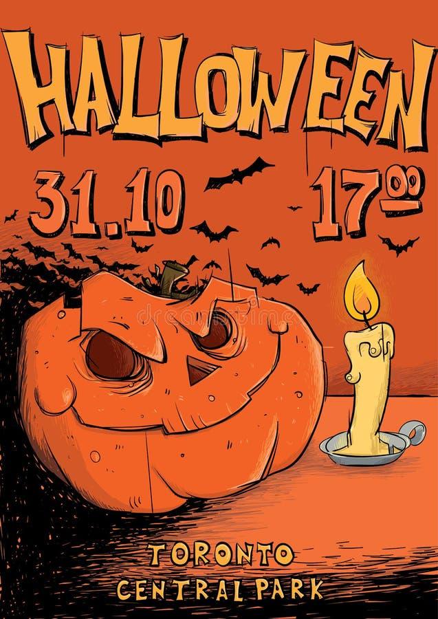 Cartaz ou inseto para o partido de Dia das Bruxas ` De Jack-o - lanterna e vela Ilustração do molde do vetor ilustração stock