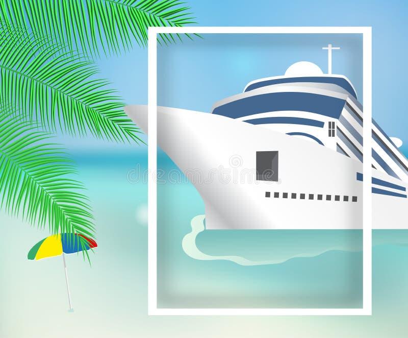 Cartaz ou navio e praia transatlânticos do forro do molde da bandeira Costela Luminosa do navio de cruzeiros Vetor ilustração do vetor