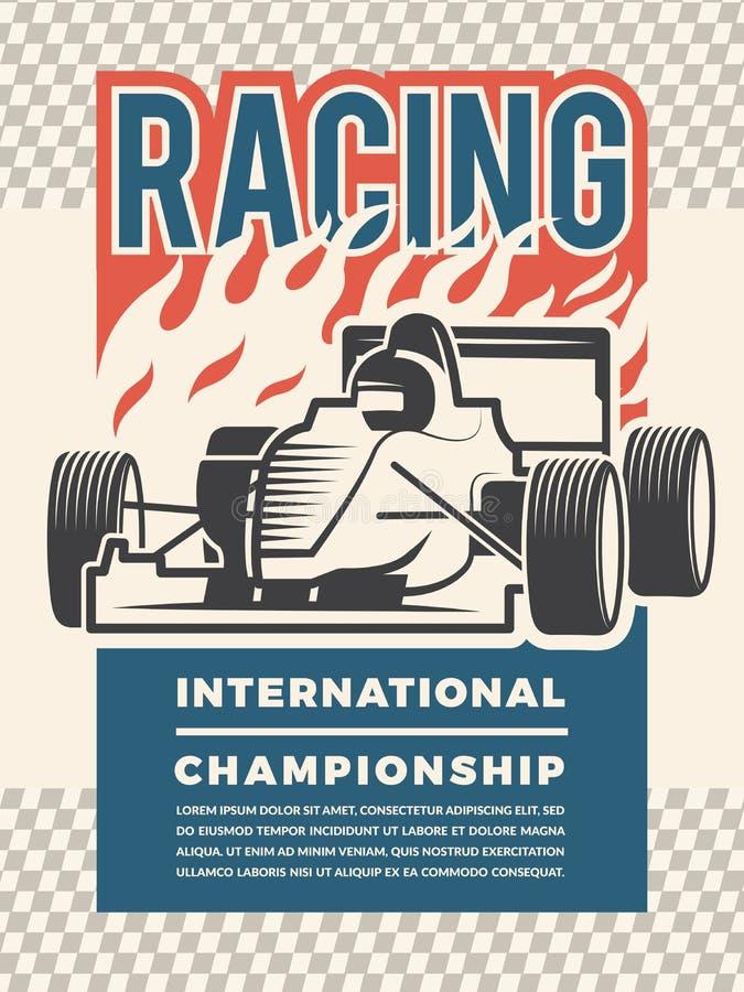 Cartaz ou cartaz para o motosport Ilustrações do vintage de carros de competência ilustração royalty free
