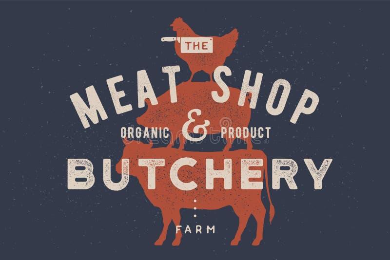Cartaz para o açougue, loja de carne Vaca, porco, suporte da galinha em se ilustração stock