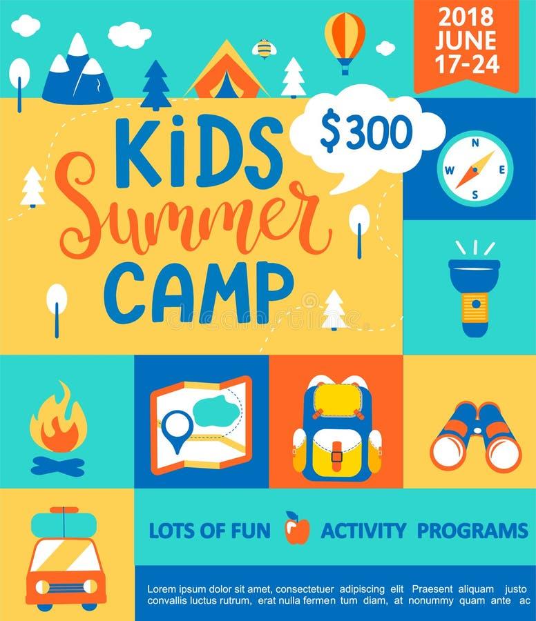 Cartaz para o acampamento de verão das crianças ilustração royalty free