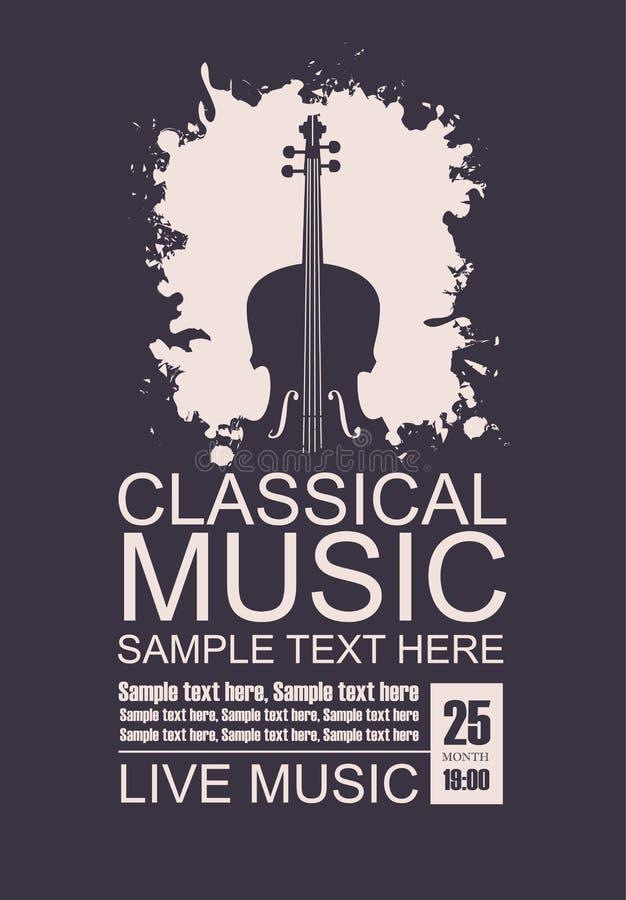 Cartaz para o concerto da música clássica com violino ilustração do vetor