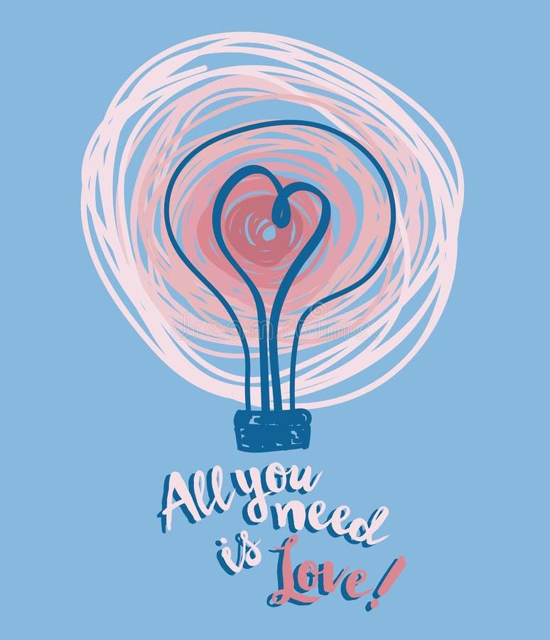 Cartaz para o dia de Valentim com ampola e coração no estilo do esboço ilustração do vetor