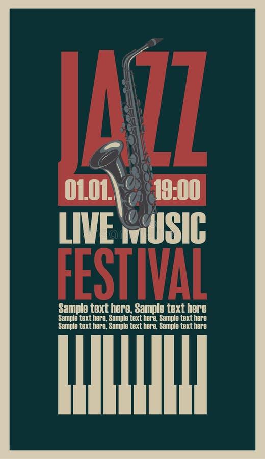 Cartaz para o festival de jazz ilustração do vetor