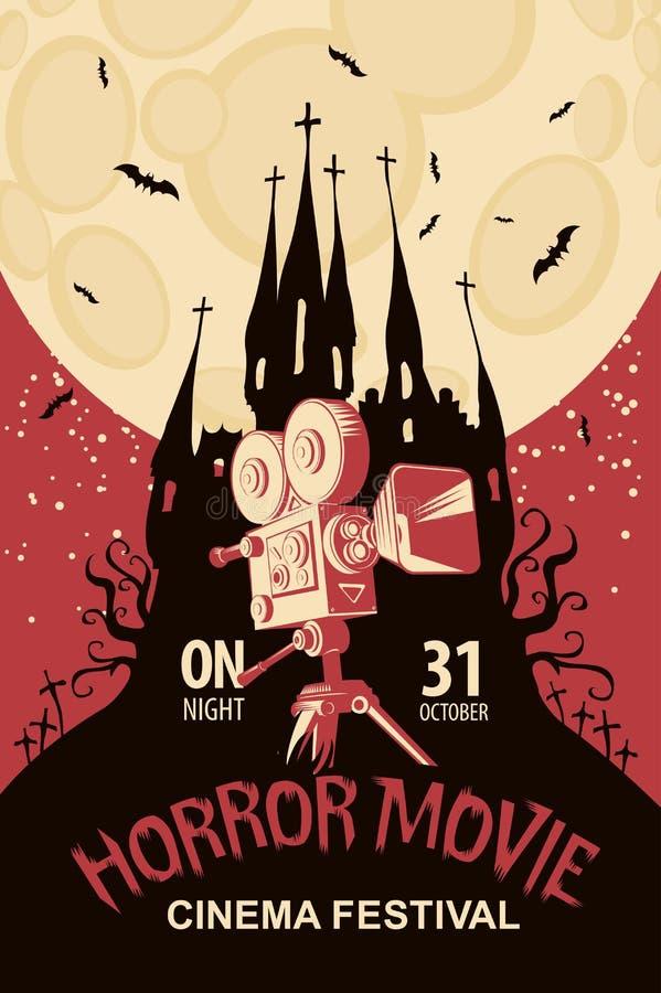 Cartaz para o festival do filme de terror, cinema assustador ilustração do vetor