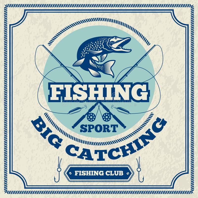 Cartaz para pescar o clube Ilustração monocromática do pique ilustração do vetor
