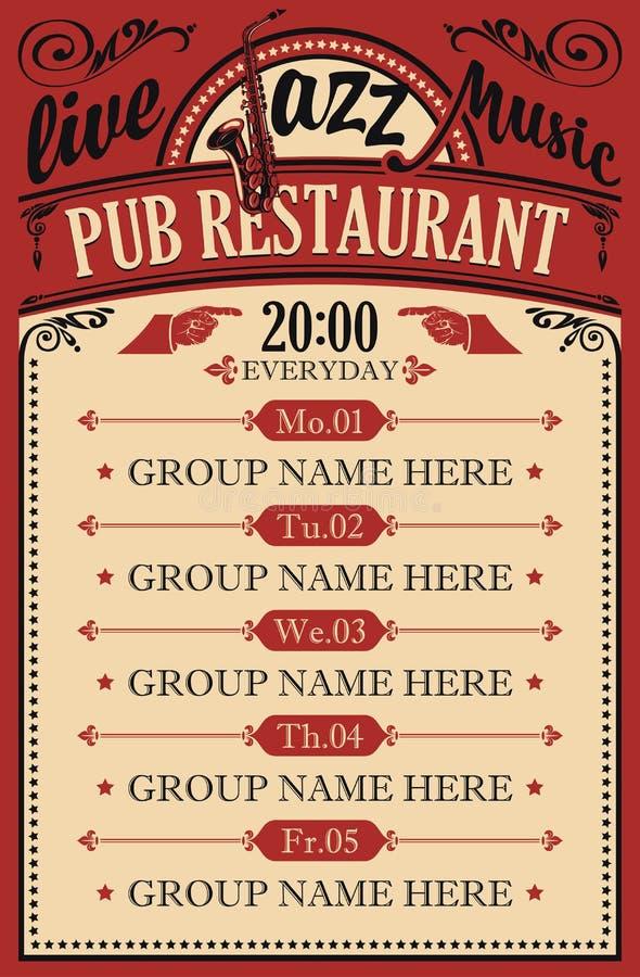 Cartaz para um restaurante do bar com música jazz viva ilustração do vetor