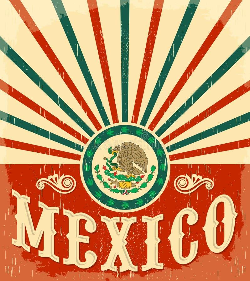 Cartaz patriótico do vintage de México ilustração royalty free