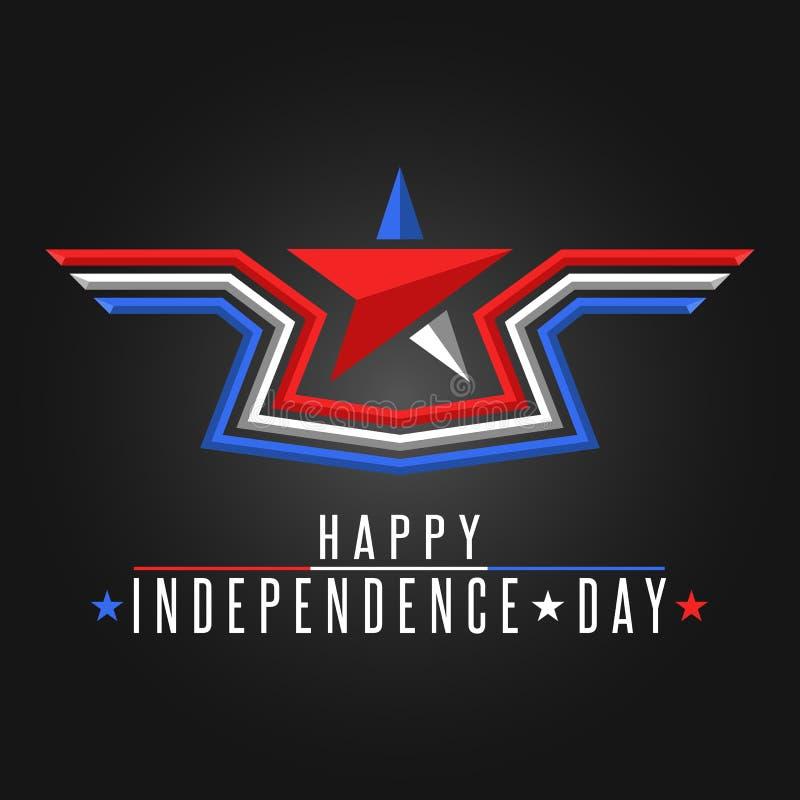 Cartaz patriótico, estrela e asas do fundo feliz do Estados Unidos do Dia da Independência abstratos na bandeira americana das co ilustração do vetor
